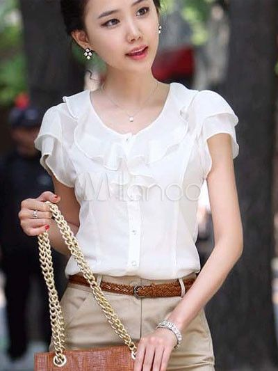 blusas elegantes en chifon manga larga - Buscar con Google | Ropa