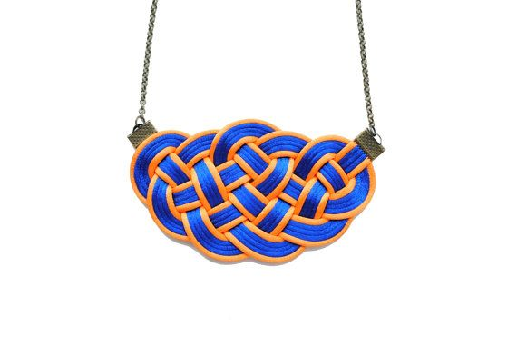 Blue and orange necklace knot necklace knotted by elfinadesign