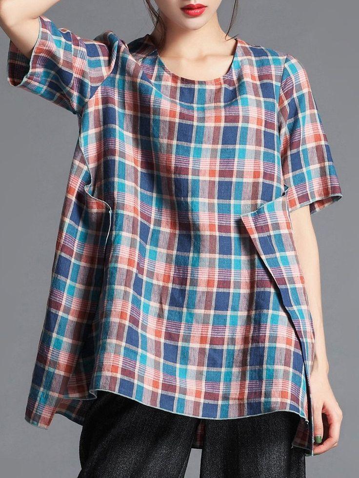 Elegant Checkered/Plaid Linen Printed Half Sleeve Blouse