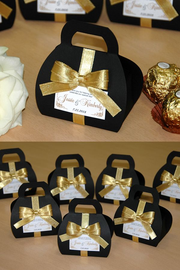 Black Gold Wedding Favor Gift Box With Satin Ribbon Bow And