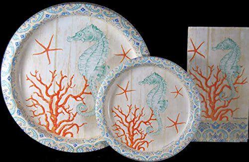 Orange and Teal Seahorse, Coral, Nautical Theme Entertain... http://www.amazon.com/dp/B01E2YESRA/ref=cm_sw_r_pi_dp_kr3rxb0P0NYF6