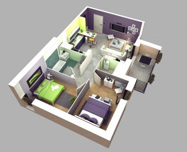 Plan Maison 3d D Appartement 2 Pieces En 60 Exemples Decorations Pour La Maison Two Bedroom House Design Two Bedroom House 2 Bedroom House Design