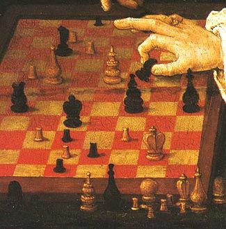 """In 1508, the Dutch painter Lucas van Leyden captured the drama of courier chess in his famous painting, known as """"The Chess Match,"""" """"The Chess Players,"""" or """"The Chess Game""""."""