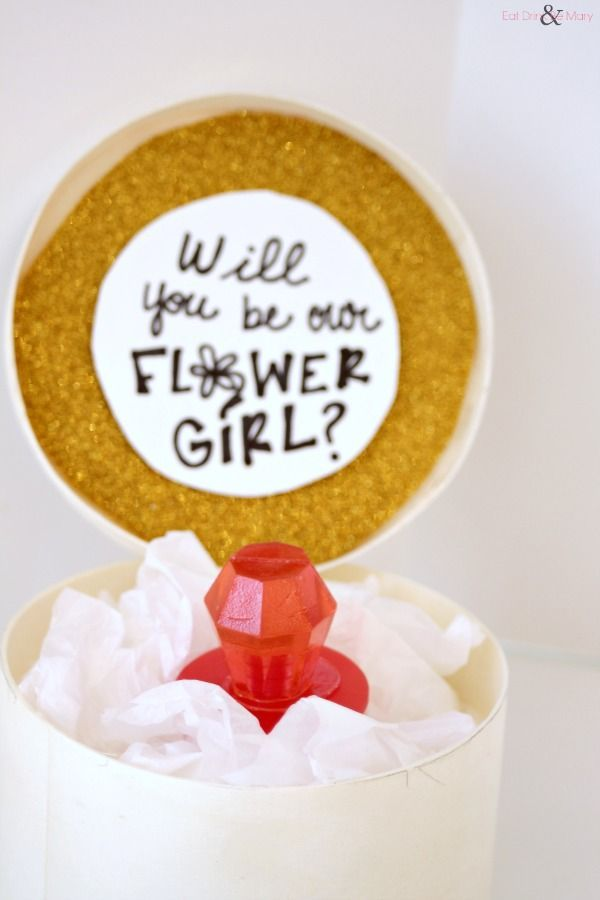 What a fun, special way to ask her to be your flower girl!
