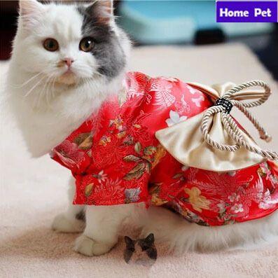 Pet Dog Cat roupas saia Floral arco quimono japonês traje da princesa vestido S24 alishoppbrasil