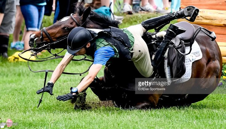 Parker #2, with rider James Alliston (GBR), unsuccessfully clear an obstacle during the Cross Country Test at the Rolex Kentucky 3-Day Event at the Kentucky Horse Park on April 29, 2017 in Lexington, Kentucky.