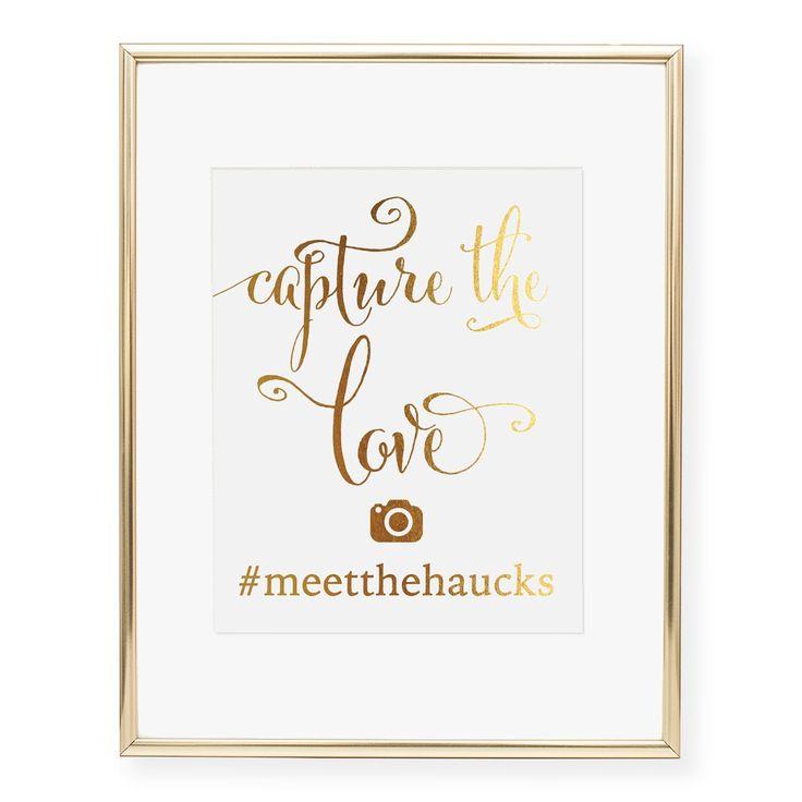 Wedding Hairstyle Hashtags: Instagram Hashtag Custom Foil Art Print, Style 4