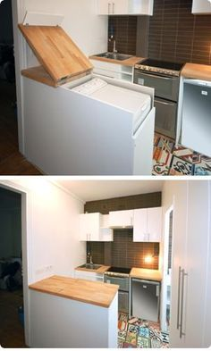 Hiding the washer dryer combo in a tiny home. Great idea! It's amazing how creative people can be! While the tiny home trend is on the rise, just as many single-family homeowners (and apartment dwellers) are taking steps to get even more space out of their cramped quarters.