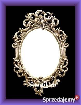 Fantastyczne barokowe lustro z aniołami . Kolor srebrny. Dekoracyjna piękna  rama.   WYMIARY Z RAMĄ: 90 x 58 CM. WYMIARY LUSTRA: 52 x 40 CM.