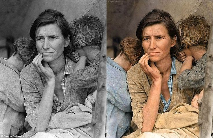 Photo by Dorothea Lange, 1936, Great depression, Colouring by Sanna Dullaway, Source: http://www.dailymail.co.uk/news/article-2088611/Swedish-artist-Sanna-Dullaway-injected-colour-host-historic-photographs.html