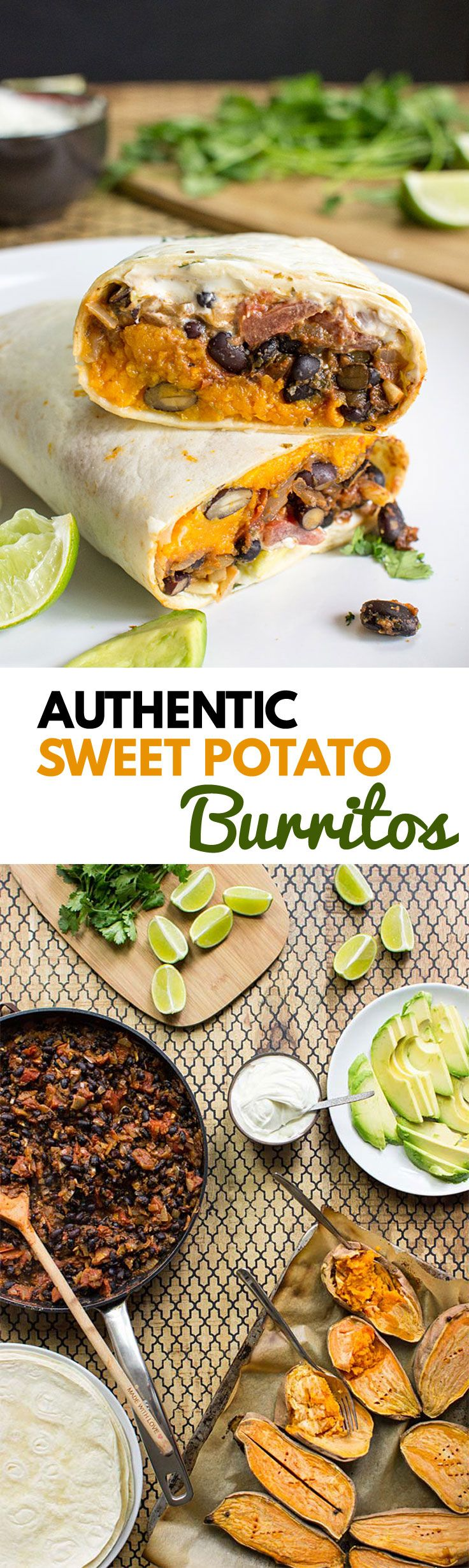 Sweet Potato Burritos - bursting with Mexican flair and tantalising flavours, this authentic recipe is easy to make for one or the whole big family! | hurrythefoodup.com