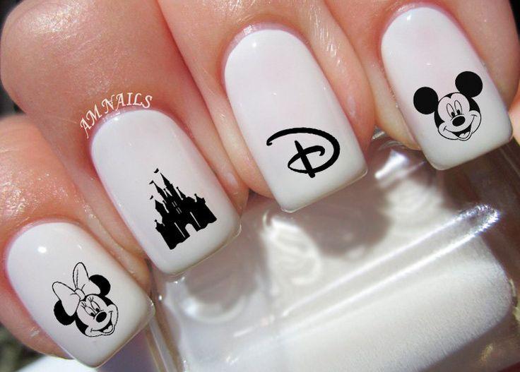 50 Disney Nail Decals de AMnails en Etsy https://www.etsy.com/es/listing/239682186/50-disney-nail-decals                                                                                                                                                      Más