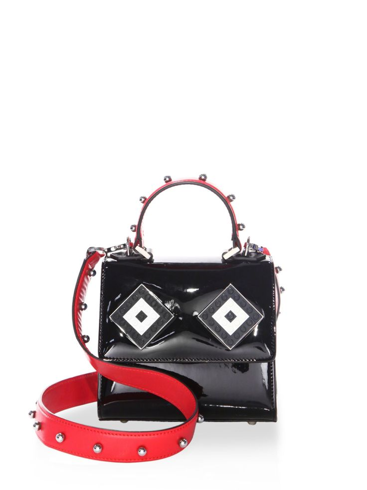 Les Petits Joueurs Baby Alex Mask Sphere-Studded Patent Leather Top Handle Bag