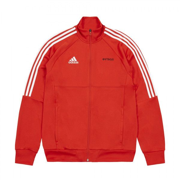 Gosha Rubchinskiy x adidas Tracktop Jacket ($132) ❤ liked on Polyvore featuring outerwear, jackets, pattern jacket, striped jacket, print jacket, red jacket and stripe jacket