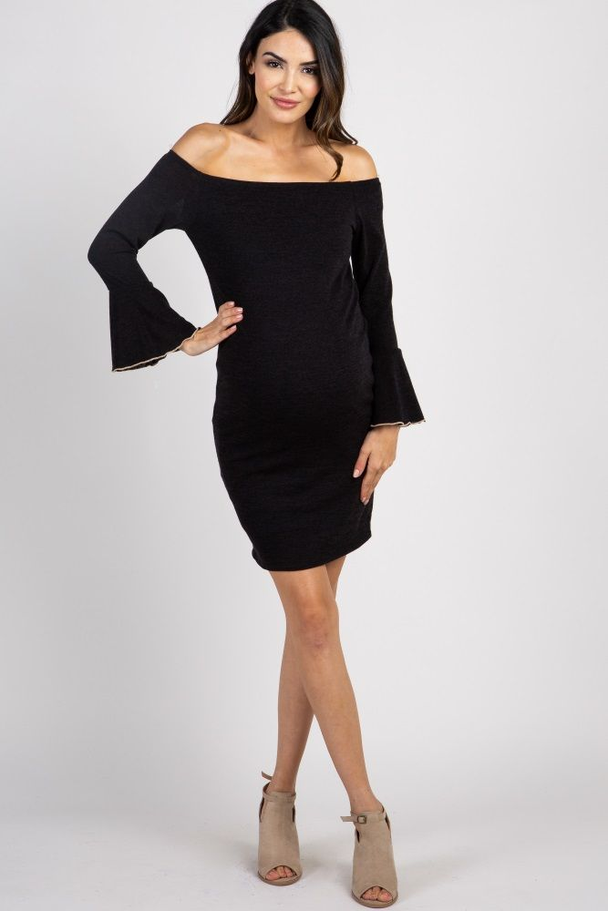 16bafadc9601 Black Bell Sleeve Fitted Maternity Dress | Maternity Photo Shoot ...
