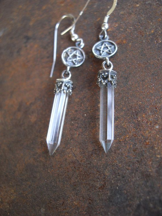 Pentacle and crystal quartz point earrings