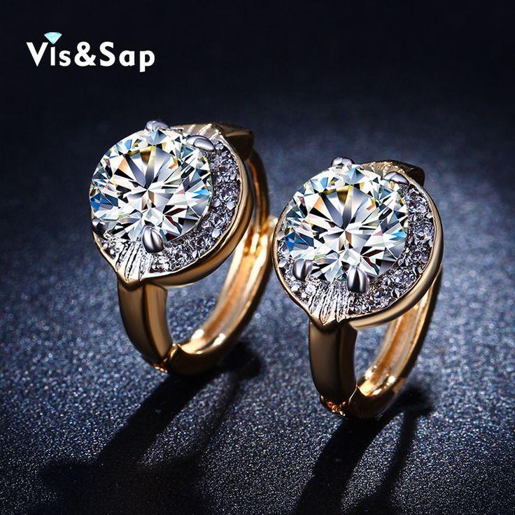 Visisap 노란색 골드 컬러 후프 귀걸이 웨딩 약혼 빈티지 보석 큐빅 지르코니아 후프 귀걸이 VSE019