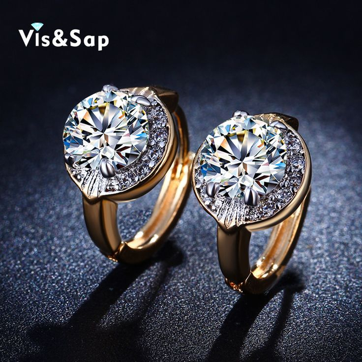 Yellow gold plated Crystal Hoop Earrings For Women wedding engagement Vintage jewelry cz diamond wholesale hoop earring VSE019