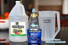 500 ml d'eau, 50 ml de vinaigre et 1/2 c. à thé de liquide à vaisselle. Attention de bien rincer à l'eau claire avant que ça ne sèche.