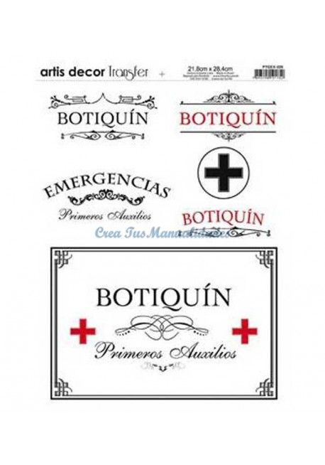 Papel transfer Botiquin Artis Decor, 28,4 x 21,8 cm.