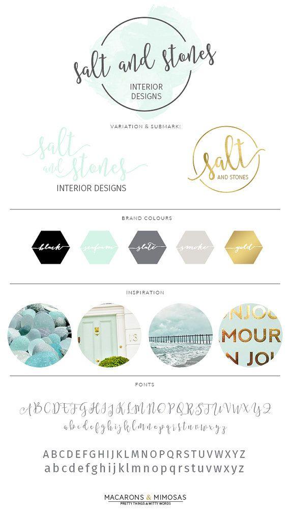 Aqua Watercolor Script Logo Design, Branding Board, Photography Premade Calligraphy Stamp, Interior Design Blogger Watermark, 001