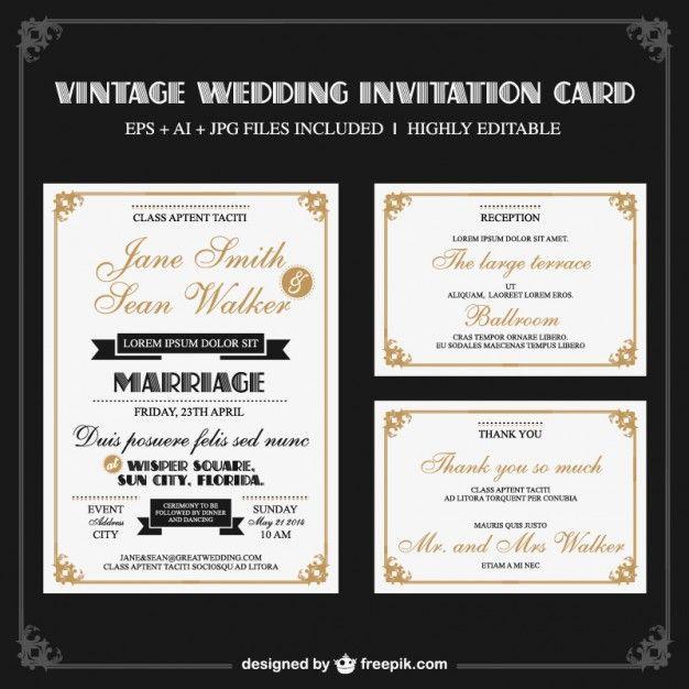 Elegant retro wedding set  Free Vector