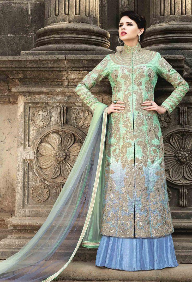 Aloe #Vera #Green #Silk Long Achkan Style #Salwar #Kameez #nikvik  #usa #designer #australia #canada #freeshipping #suits #collar #pakistani