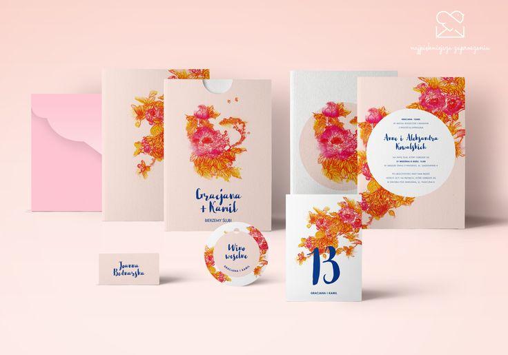 Motyw jesiennego ogrodu - papeteria ślubna // Autumn garden wedding stationery theme, pink orange blue flowers wedding invitations, intense colors color palette, inspirations http://najpiekniejsze-zaproszenia.pl/motyw_jesienny/