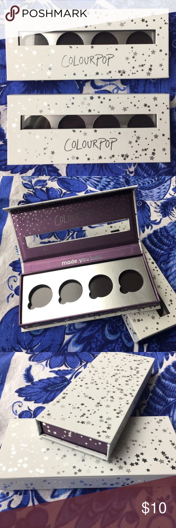 2 brand new empty Colourpop eyeshadow palettes! Palettes are magnetized and fit 4 eyeshadow pans each. Listing is for the two palettes together. Colourpop Makeup Brushes & Tools