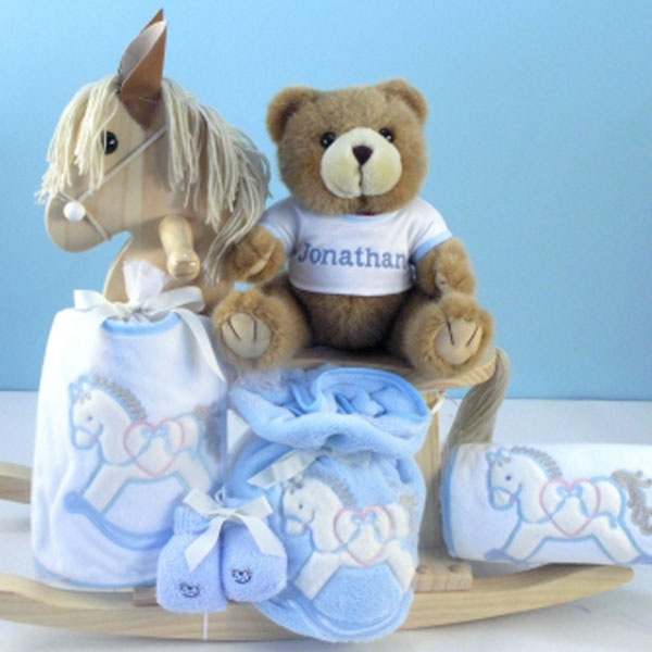 145 best baby cakes gift sets images on pinterest baby presents baby boy gifts personalized natural rocking horse gift set for baby boy negle Image collections