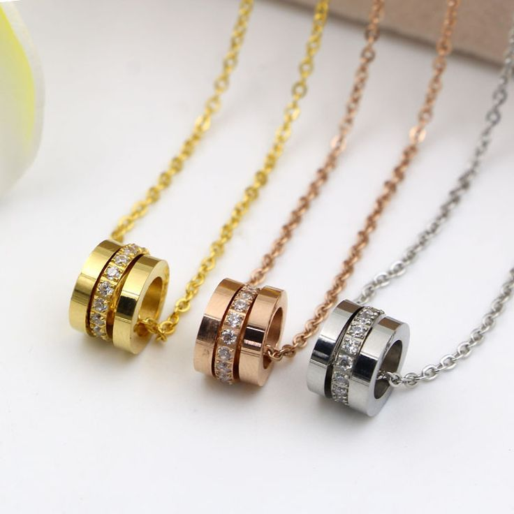 Hot Sale Three Circles With Crystal Rose Gold Color / Silver Color / Gold Color Titanium Steel Necklaces