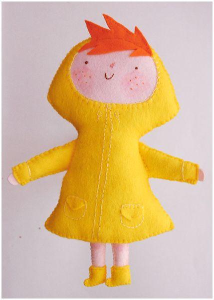 Felt yellow doll