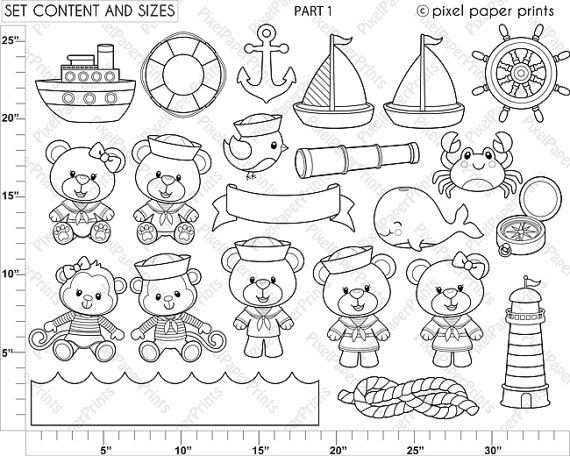 Baby Sailor Stamps Digital stamps Clip art