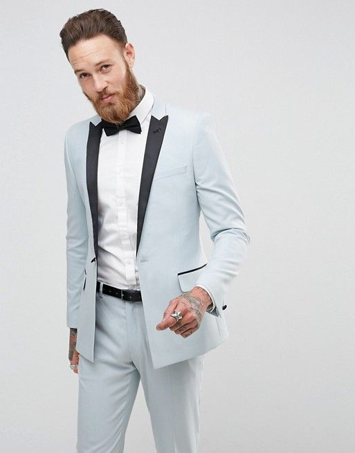 This light blue tuxedo is so stylish! | ASOS Wedding Skinny Tuxedo Suit  Jacket In Ice Blue | Light Blue Wedding Colors | Wedding Suit u2026