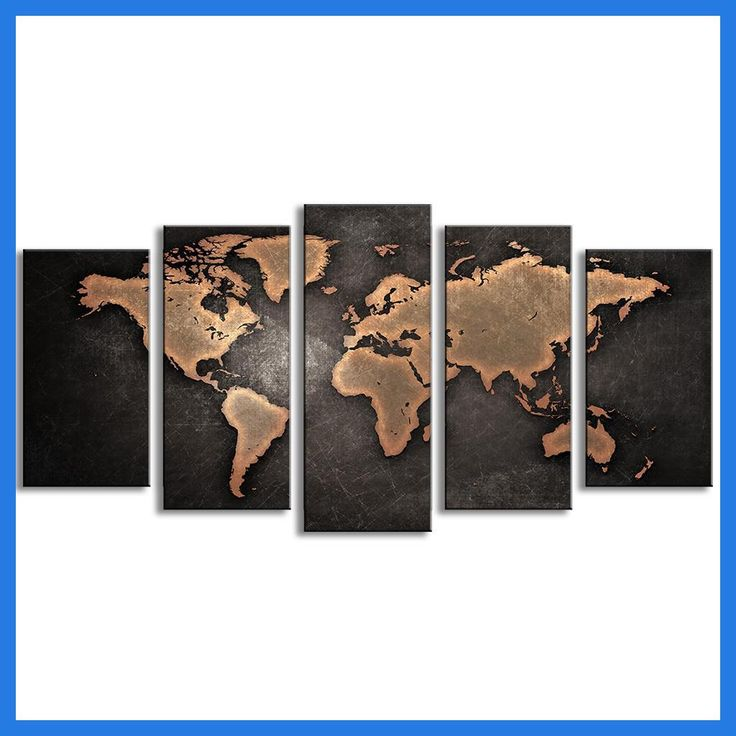 MONICA 5 Pcs/Set Modern Abstract Wall Art Painting Vintage World Map Canvas Oil Painting Print Wall Living Room Unframed