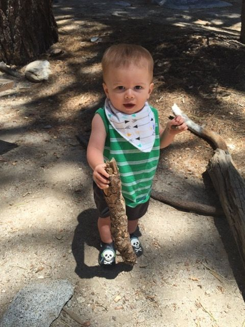 World's cutest baby poses with a small log, held like a hiking stick