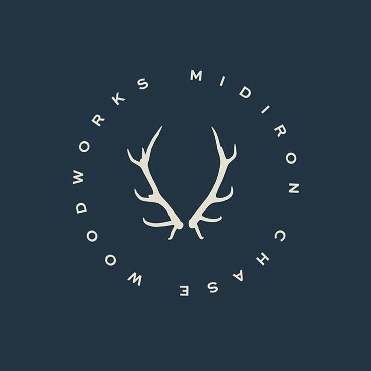 Initial brand mark concept for a modern woodworking shop. #design #logo #antlers #woodworking #stag #summer #circle #branding #wood #white