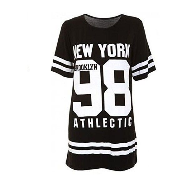 Janisramone Women Baseball Brooklyn New York 98 Oversize Baggy T Shirt... (42 DKK) ❤ liked on Polyvore featuring dresses, baggy dresses, oversized white dress, baseball dresses, oversized dress and white day dress