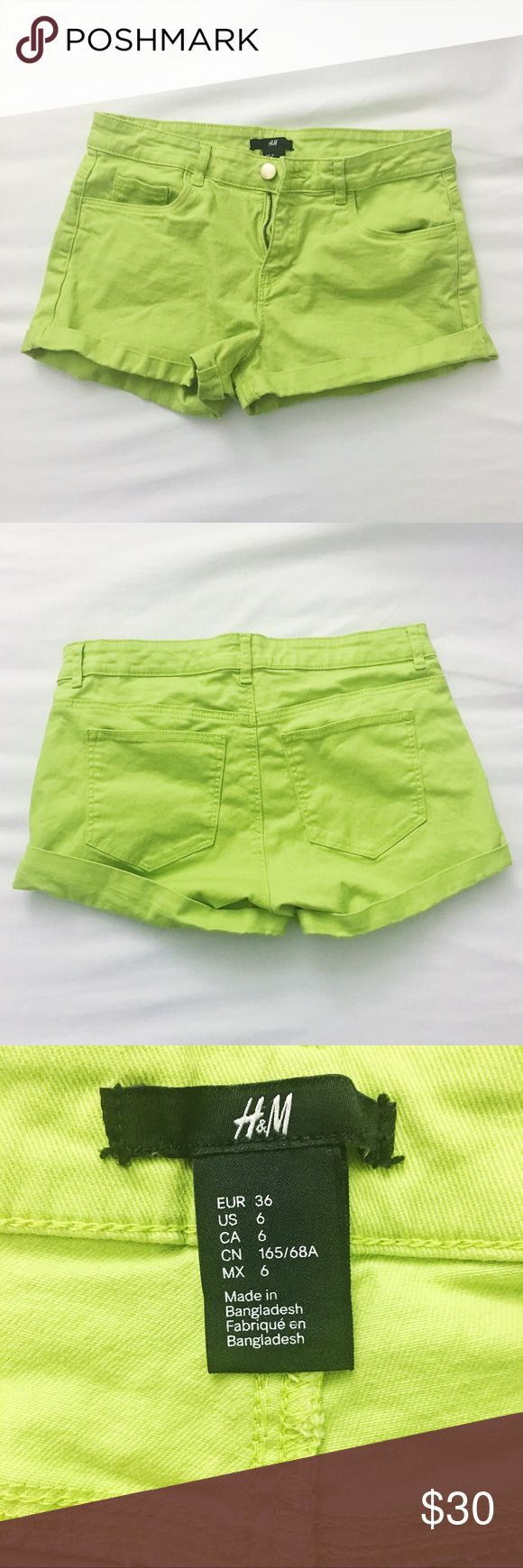H&M Lime Green Shorts New. Never worn. Great condition! Shorts Jean Shorts