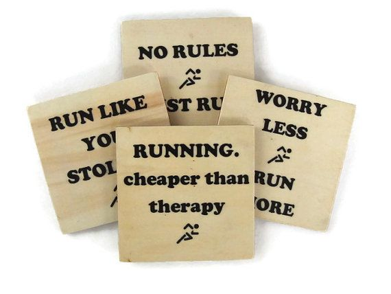 Running Gift for Runner Wood Coasters Beverage by BadDaddysWood