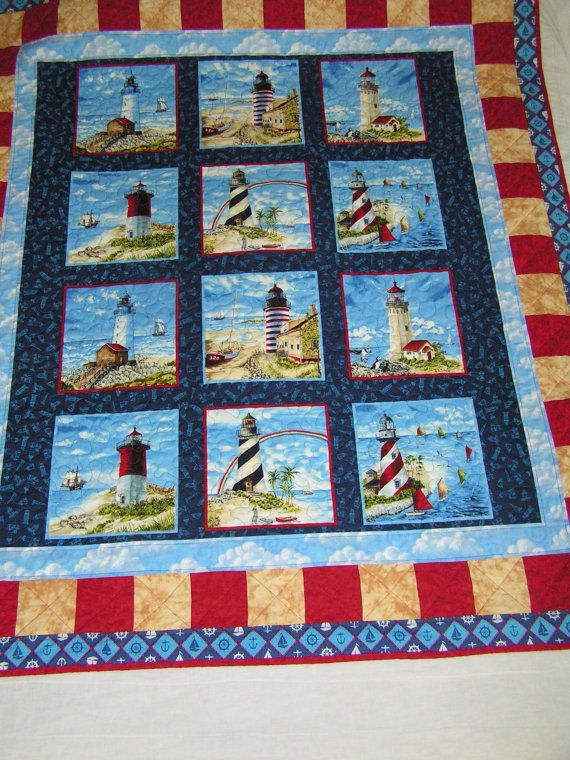 "light house quilting material | Lighthouse Quilt 55"" x 65"""
