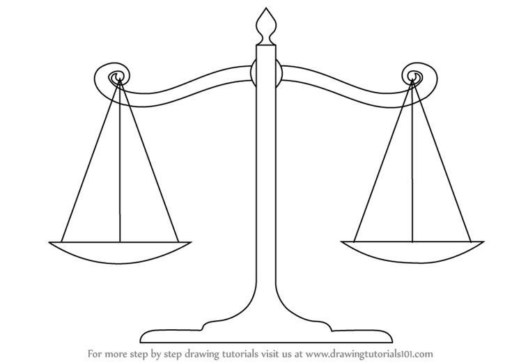 Learn How To Draw Scales Of Justice Everyday Objects Step By Step Drawing Tutorials Scale Drawing Drawing Tutorial Drawings