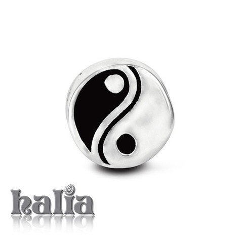 Yin-Yang: Yin-yang symbol bead: designed exclusively by Halia, this bead fits other popular bead-style charm bracelets as well. Sterling silver, hypo-allergenic and nickel free.          $35.00