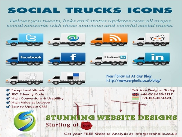 Deliver your tweet, status updates over all major social network with these spacious & colorful social trucks.