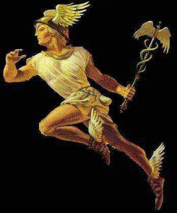 Hermes-Mercurio, hijo de Zeus y Maya, padre de Hermafrodito con Afrodita. Dios de los viajeros, la elocuencia y habilidad de los comerciantes. Recien nacido robo un rebaño. Fabrico lira y flaura que cambio a Apolo. Invento el alfabeto, musica, astronomia, pesas, medidas y gimnasia. Conductor de almas. Figura secundaria por su funcion de mensagero. Imberbe, atletico, desnudo, porta casco y sandalias alados y empuña caduceo.