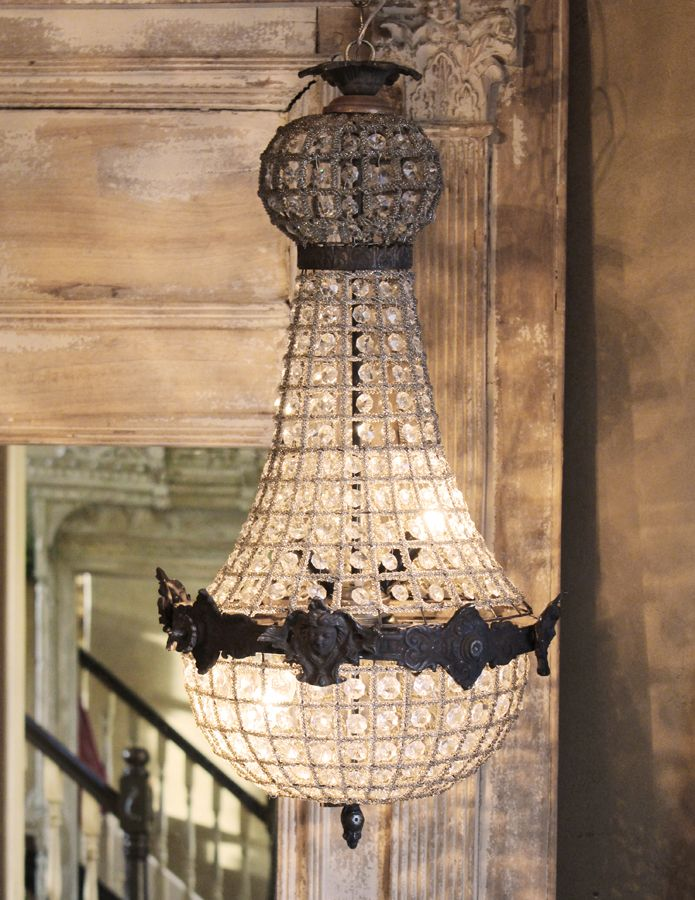 French Empire Crystal Prisms Figural Chandelier-