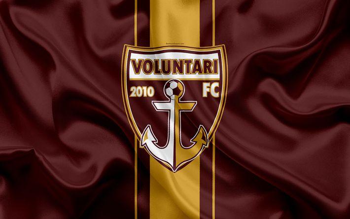 Download wallpapers FC Voluntari, 4k, Romanian football club, logo, silk flag, Romanian Liga 1, Voluntari, Romania, football