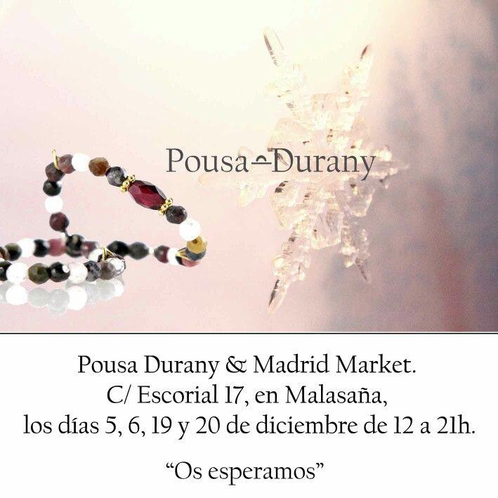 Hola a tod@s, Con motivo de las fechas que se aproximan, podréis ver y comprar la nueva colección Otoño/Invierno 2015 de Pousa Durany en la edición de Madrid Market. C/Escorial 17, Madrid. Malasaña. Los días 5, 6, 19 y 20 de diciembre, de 12 a 21h.  ¡¡¡Os esperamos!!!