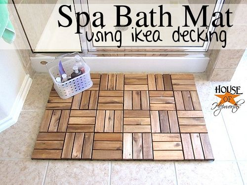 Upcycling a Runnin floor decking into a spa bath mat is a creative IKEA hack.