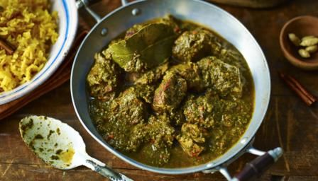 Mutton works well with big flavours and complements the iron-rich spinach in this tasty curry recipe.